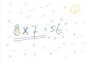 8x7=56 op a4